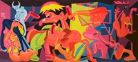 study for picasso's 'guernica' by peter saul