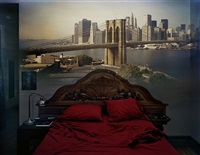 camera obscura: view of the brooklyn bridge in bedroom by abelardo morell