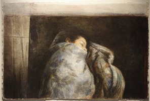 woman in blanket by sidney goodman