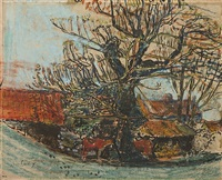 red roofs, trees and cow by joan kathleen harding eardley