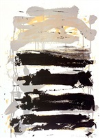champs - black, gray and yellow by joan mitchell