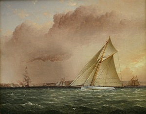 puritan races toward the narrows off brooklyn, american yachts off new york by james edward buttersworth