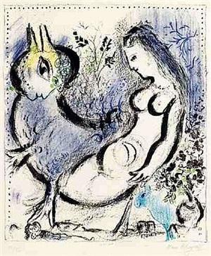 la nymphe bleu by marc chagall