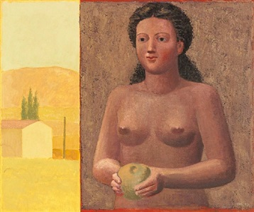 landscape, woman and fruit by hermann albert