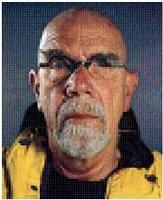 self-portrait (yellow raincoat) by chuck close