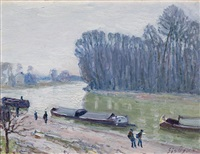 péniches sur le loing by alfred sisley