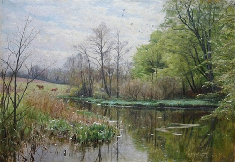spring at a stream by peder mork monsted