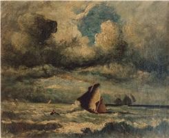 sailing ships in choppy seas by jules dupré