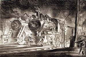 switch engines, erie yards, new jersey by reginald marsh