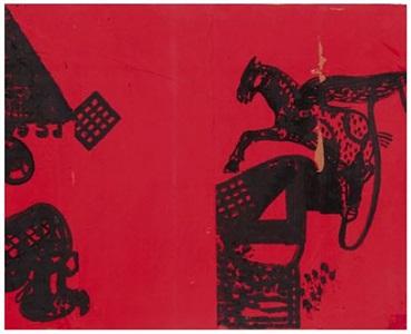 pegasus on red by pierre antoniucci