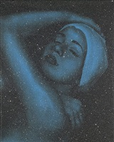 shower print with blue (frontal view) by carole a. feuerman