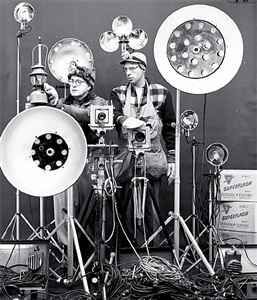 link and george thom with link's flash equipment by o. winston link
