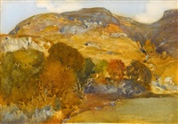 perthshire hillside in autumn by william russell flint