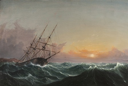 a storm, breaking away, vessel slipping her cable by fitz henry lane