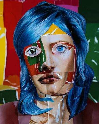 portrait with blue hair by daniel gordon