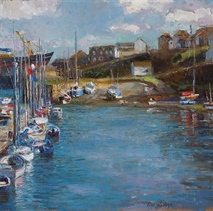 newlyn harbour by curt walters