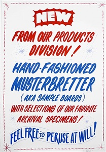 new from our products division!<br/> hand-fashioned musterbretter (aka sample boards) with<br/> selections of our favorite archival specimens!<br/>feel free to peruse at will! by christine hill