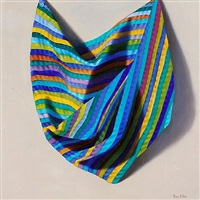 blue striped drapery by toni ellis
