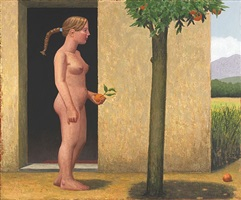 woman and orange tree by hermann albert