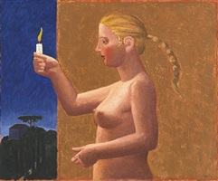 woman and candle by hermann albert