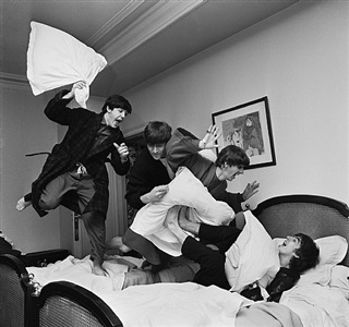beatles pillow fight, george v hotel, paris by harry benson