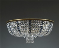 very beautiful circular chandelier with a bronze base, entirely decorated with baccarat crystal beads by jules leleu