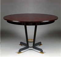 rare circular dining table in deep wine coloured lacquer oak by jules leleu