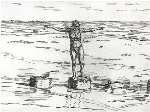 bather with outstretched arms, no. 6 by graham nickson