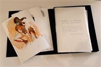 new works on paper and in cast glass (portfolio), (arching woman, tumbling woman, crouching woman) by eric fischl
