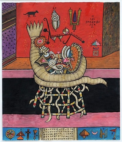 offering to the five headed serpent no 1 by alan davie