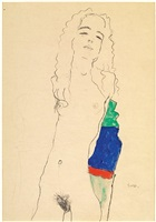 dark haired girl by egon schiele
