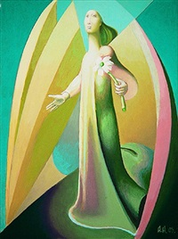 angel with flower by alexander anufriev