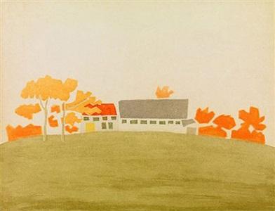 house and barn by alex katz