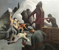 mine strike, pittsburgh pa (waiting on verso) by thomas hart benton