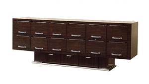 meuble d'appui en ébène de macassar et bronze chromé by émile jacques ruhlmann