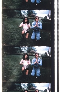 john & yoko, posing for a polaroid to be delivered to george maciunas, june 12, 1971 by jonas mekas