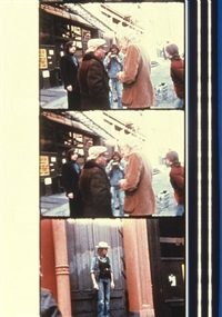 sam fuller, nick ray, wim wenders, dennis hopper during the filming of my american friend, soho, nyc 1977 by jonas mekas