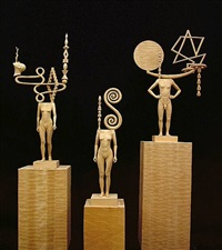 left sculpture:<i> fountain head</i> center: <i>curlesque</i> right: <i>day in day out</i> by john buck