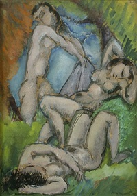 three nudes in landscape by max weber