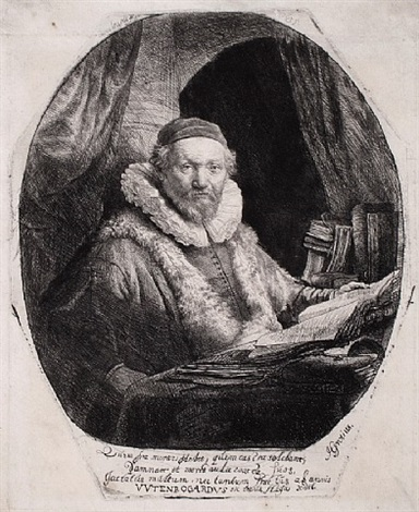 jan uytenbogaert, preacher of the remonstrants, (4th state) by rembrandt van rijn