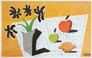 two apples & one lemon & four flowers by david hockney