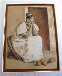 mujer yucateca con naranjas by francisco zúñiga
