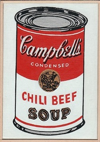 andy warhol, 'campbell's soup can, chili beef', 1962 by richard pettibone