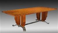 grande table rectangulaire de salle à manger en palissandre / rosewood dining-room table by jules leleu