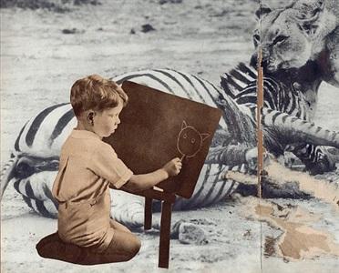 art school original collage by joe webb