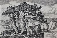 arroyo with trees by birger sandzen
