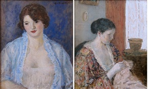 blue negligée (front) / the artist's wife sewing (verso) by frederick carl frieseke