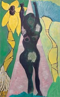 nude and palms (pink triangle) by chris ofili