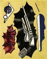composition aux fusils sur fond jaune (les deux fusils) by fernand léger