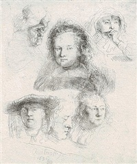 studies of the heads of saskia and other women by rembrandt van rijn